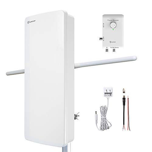 Outdoor HDTV Antenna - ANTOP 800SBS Flat Panel HD & FM Amplified Antenna with with Dual Outputs Smart Boost System, 85 Miles Multi-Directional Reception Range, Support TV and Second Device