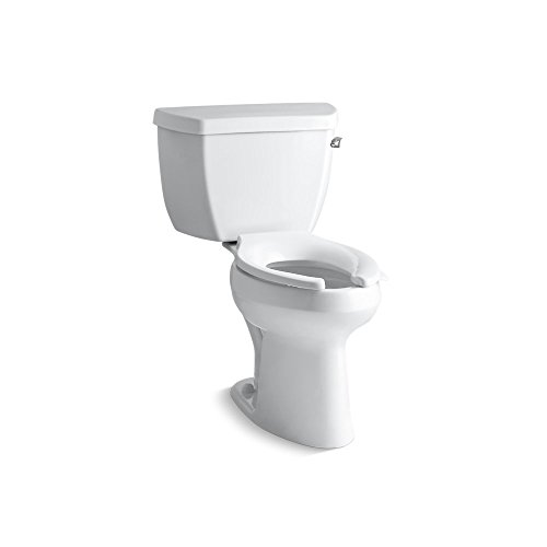 Kohler K-3519-RA-0 Highline Classic Comfort Height Elongated 1.0 gpf Toilet with Right-Hand Trip Lever, Less Seat, White (0 White Highline Elongated Bowl)