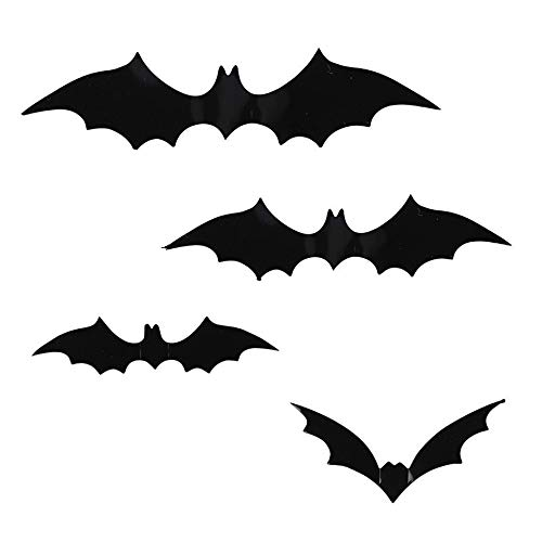 Ysisa Batman Wall Decal Sticker 28Pcs Halloween 3D Black PVC Bat DIY Decor Wall Sticker for Halloween Party Bar Haunted House -