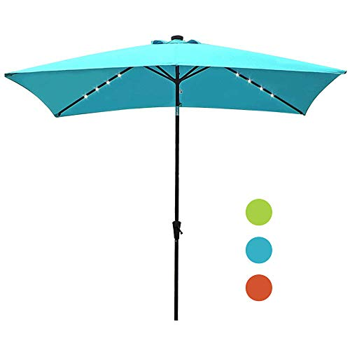 COBANA 9.8 x 6.6ft Solar Powered 22 LED Lighted Outdoor Rectangle Table Market Umbrella Aluminum Crank Tilt Patio Umbrella, Blue