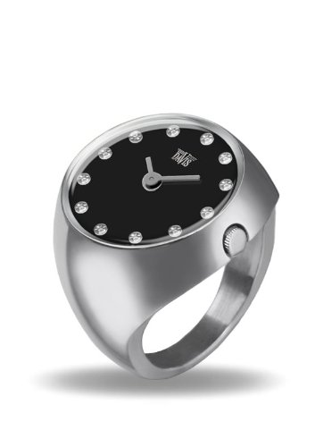 Davis 2010M - Womens Finger Ring Watch Domed Sapphire Glass Black Dial with Swarovski Crystal Markers Size 55