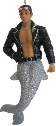 Hot Italian Stud Mario Merman Ornament-Open Leather Jacket...SO HOT!!! 7 inches Tall & Handpainted Discontinued Limited - Italian Sunglasses Manufacturers