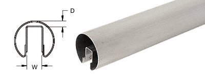 CRL 2'' Brushed Stainless Premium Cap Rail for 3/4'' Glass - 120 in Long