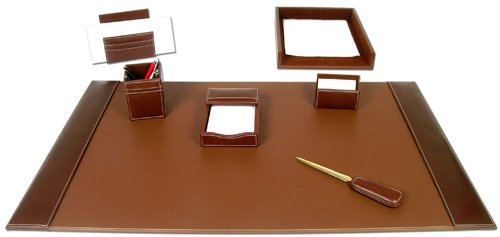 7 Piece, Brown Rustic Leather Executive Desk Set, Blotter, Letter Holder, Memo Holder, Business Card Holder, Pencil Cup, Letter Tray, Letter Opener by Unknown