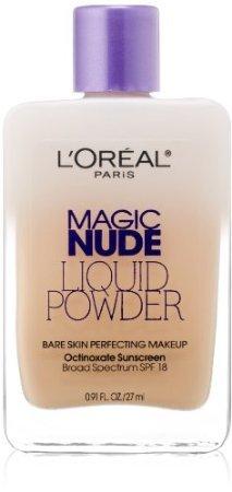 L'Oreal Paris Magic Nude Liquid Powder Bare Skin Perfecting Makeup SPF 18, Light Ivory, 0.91 Ounces