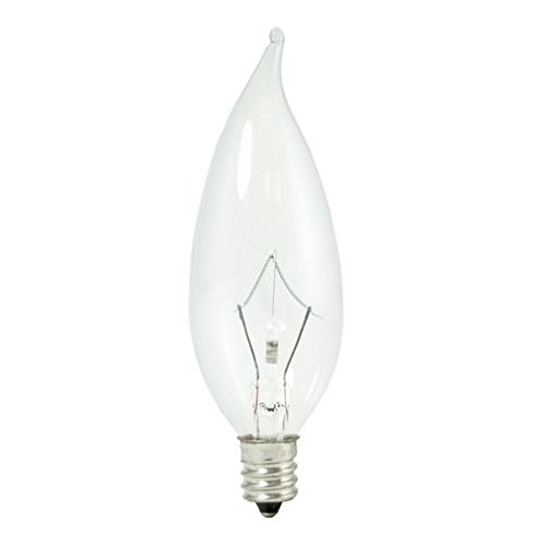 8 Bulbrite 460360 KR60CFC/32 60-Watt Dimmable Krypton Krystal Touch Flame Tip CA10 Chandelier Bulb Candelabra Base Clear