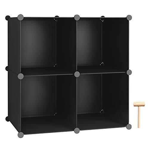 C&AHOME Cube Storage, Bookcase, Modular Storage Organizer, 4 Cube Shelving Units for Closet, Home, Office, Black (4 Storage Cube Organizer)