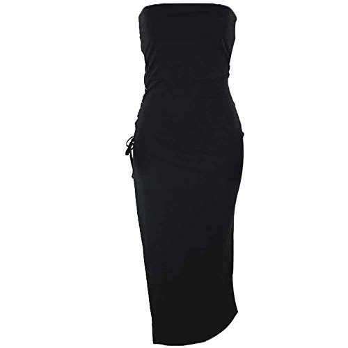 Side Paty Slit Bodycon4U Up Women's Dresses Tube Lace High Strapless Club Black F0Y1qFA