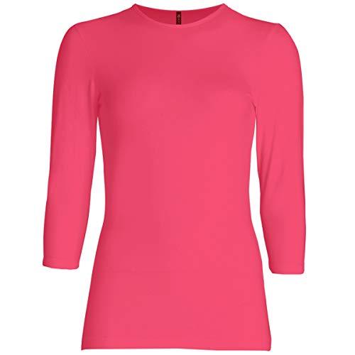 - Esteez Womens 3/4 Sleeve Shirt Relaxed FIT EX801136 Fuchsia XX-Large