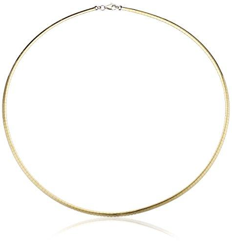 14k Gold-Bonded 3.2mm Reversible Omega Chain Necklace, - Gold 14k Necklace White Omega