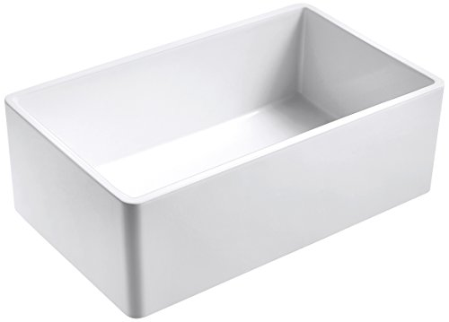 Empire Industries OL33SG Olde London Reversible Casement Edge Farmhouse Fireclay Single Bowl Kitchen Sink with Grid, 33