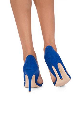 Damen Sexy Spitzen Zehen Stiletto Pumps niedrigen Ferse Größe UK 345678 Blue Suede