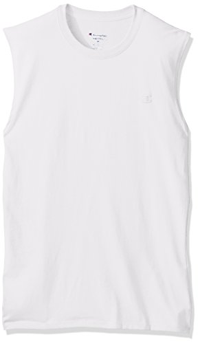 Fashion Ringspun T-shirt - Champion Men's Classic Jersey Muscle T-Shirt, White, S