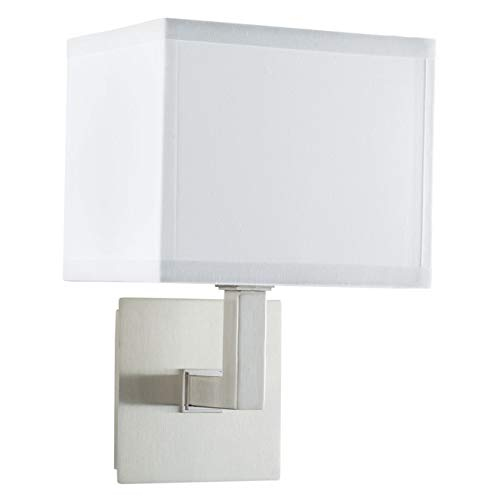 Sofia Wall Sconce Light - Brushed Nickel w/ White Fabric Shade - Linea di Liara LL-WL350-1-BN]()