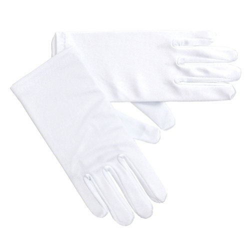 Angels Garment Girls Size 8-12 White Satin Wrist Length Wedding Gloves