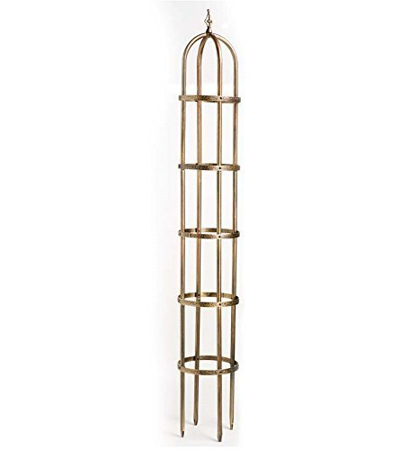 8' Powder-Coated Steel Garden Obelisk, Antique Copper