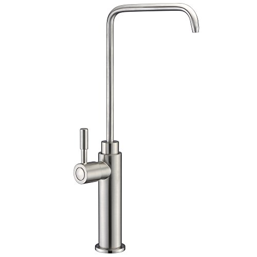 SUCASA Tall Pillar Single Handle Drinking Water Faucet Solid Brass Body and Stainless Steel Swivel Spout Filtered Water Faucet RO Filter System Fixture, Brushed Nickel ()
