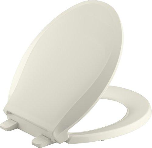 (Kohler K-7316-96 Quick-Release Round-Front Toilet Seat Biscut GRIP-TIGHT CACHET)