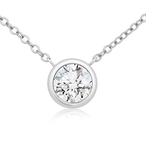 Lusoro 925 Sterling Silver Solitaire AAA Cubic Zirconia Bezel Necklace 16 + 2