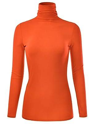 EIMIN Women's Long Sleeve Turtleneck Lightweight Pullover Slim Shirt Top (S-3XL)