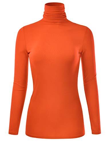 EIMIN Women's Long Sleeve Turtleneck Lightweight Pullover Slim Shirt Top Orange 1XL