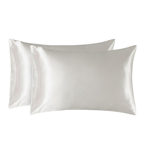 - Bedsure Satin Pillowcase for Hair and Skin, 2-Pack - Queen Size (20x30 inches) Pillow Cases - Satin Pillow Covers with Envelope Closure, Ivory