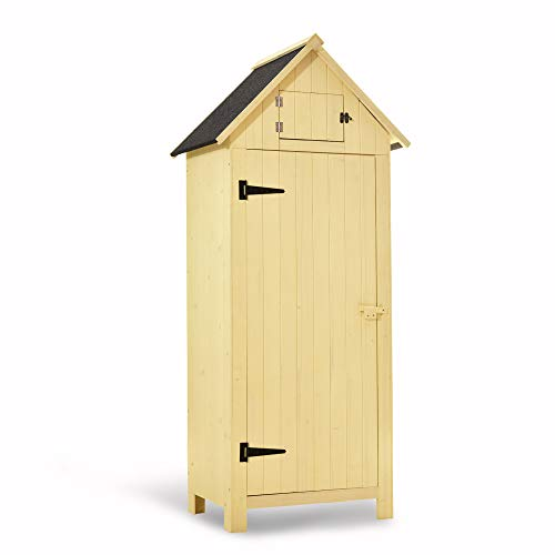 MCombo Outdoor Storage Cabinet Tool Shed Wooden Garden Shed Organizer Wooden Lockers with Fir Wood (70″) (Beige)
