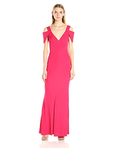 ABS Allen Schwartz Women's Triangle Sleeve Deep V-Nk Gown, Poppy, XS