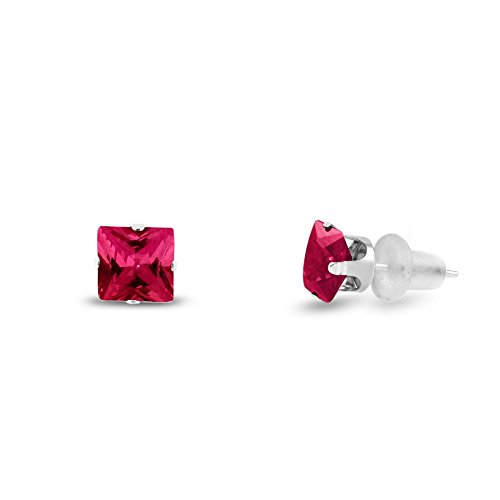 Lab Created 4x4mm Square Princess Cut Red Ruby Solid 10K White Gold 4-Prong Set Stud Earrings ()