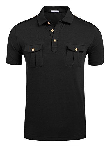 HOTOUCH Men's Premium Cotton Polo Fitted Short Sleeve Uniform Work T-Shirt (Black XXL)