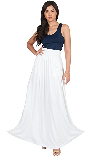 KOH KOH Petite Womens Flowy Cute Modest High Waist Floor Length Pockets Casual Semi Formal Vintage Slimming Work Office Workwear Maxi Skirt Skirts, Ivory White XS 2-4