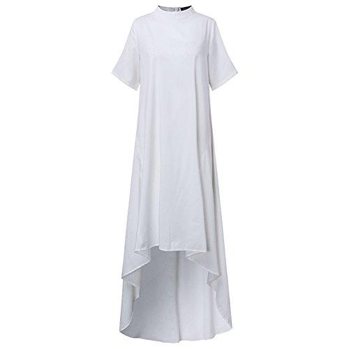Irregolare Bordo Celmia Manica Corta Sporco Lungo Flaring Solido Chic A Donne Delle Vestito Bianco Maxi Girocollo nqtwYTzAX