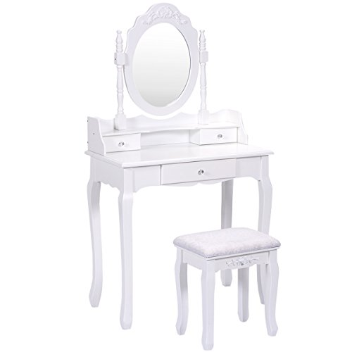 Giantex Vanity Table Set with Mirror and Stool for Bedroom Modern Wood Style Cushioned Bench Oval Mirrored Multifunctional Top Removable Writing Desk Dressing Tables for Girls, 3 Drawers (White) ()