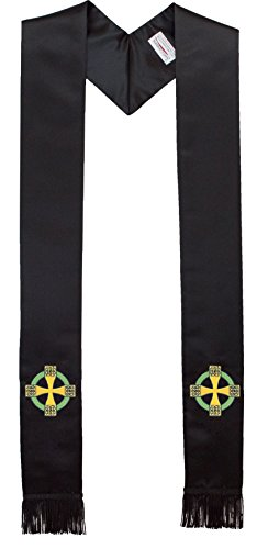 Deluxe-Satin-Clergy-Stole-with-Embroidered-Celtic-Cross