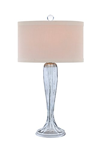 Catalina 19126-000 3-Way 31-Inch Fluted Glass Table Lamp with Oval Linen Hardback - Lamp Fluted Floor Shade
