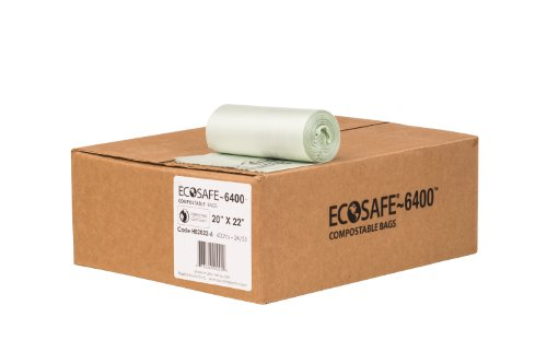 EcoSafe-6400 HB2022-6 Compostable Bag, Certified Compostable, 7-Gallon, Green (Pack of 600) ()