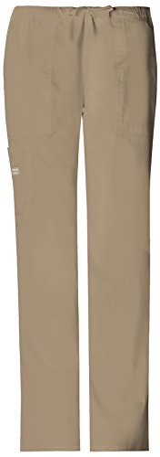 Cherokee Womens Core Stretch Mid Rise Drawstring Cargo Pant, Dark Khaki, XX-Small (Scrubs New Natural Uniforms Top)