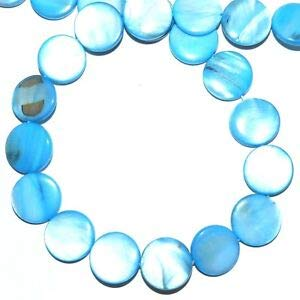 MP1981 Blue 15mm Flat Puffed Round Coin Mother of Pearl Gemstone Shell Beads 16