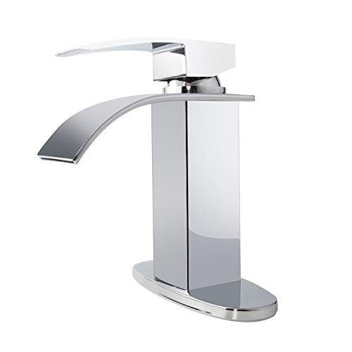 - Charmingwater Single Handle Waterfall Bathroom Vanity Sink Faucet with One Hole Deck Mount Lavatory with 4 inch Centerset Deck Plate Escutcheon with Extra Large Rectangular Spout, Chrome