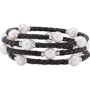 Argent 925/1000-Perles de culture d'eau douce 8-8,5mm 61cm Bracelet