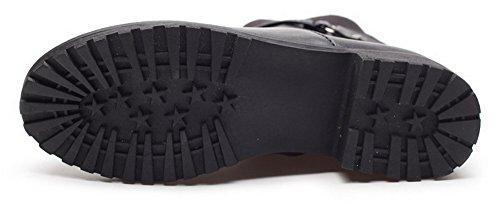 Allhqfashion Mujeres Zipper Round Closed Toe Low Heels Mid Top Botas Negro