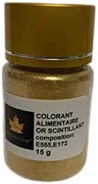 Polvo alimentario comestible, colorante de oro brillante, bote de 15g