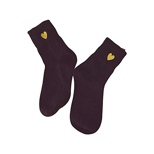 (5Pair Harajuku Students Love Embroidery In Stockings College Style Cute Socks)