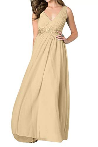 A Guertel Partykleider Chiffon Lang Linie Ausschnitt Einfach Abendkleider La Champagner V Braut Steine Marie Rock 7nfxF0U