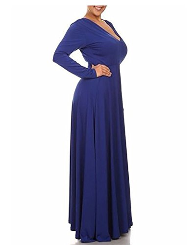 Sólido Larga Runyue Mujer Básico Rockabilly Manga del Talla Vestido De Cóctel Azul Color Vestido Cuello Grande V Swing r8BPr