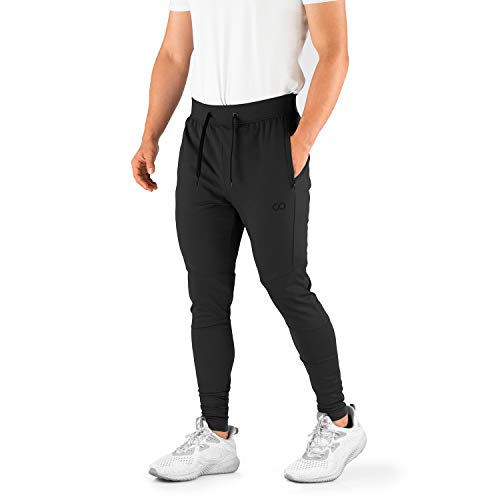 Contour Athletics Men's Joggers (Hydrafit) Track Pants Men's Active Sports Running Workout Pant Zipper Pockets (CA0003-SB)