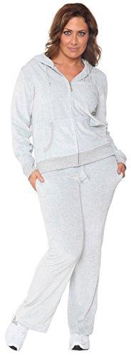 Plus Size New Women Velour Hoodie Track Suit Sweat Pants Set Sports XL 2XL 3XL (2X-Large)