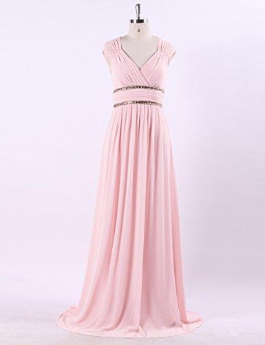 Rosa elegante 08697 de con para noche de largo escote para Vestido Pretty rosa 44 pico mujer Ever U0xISnq6