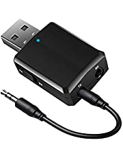 Isobel USB Bluetooth 5.0 Audio Transmitter Receiver 3 in 1, Mini Bluetooth AUX Adapter for TV PC Headphones Home Stereo Car, Wireless Audio Adapter with 3.5mm AUX, USB Power Supply