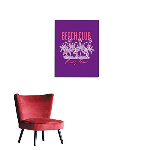 Wall Sticker Decals Beach club party time slogan Neon palm and flamingo Rock and roll patch Typography graphic print fashion drawing for t-shirts Vector stickers print patches vintage mural 16